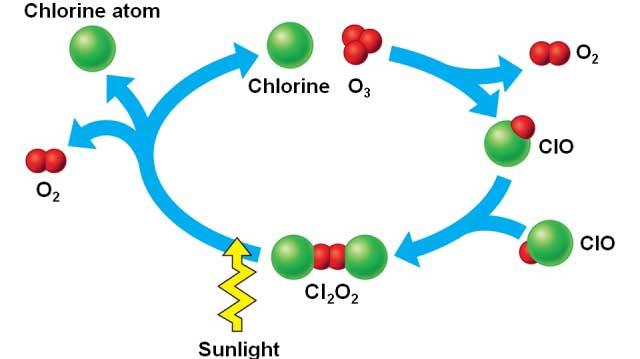 تخریب لایه اوزون توسط اتم کُلر