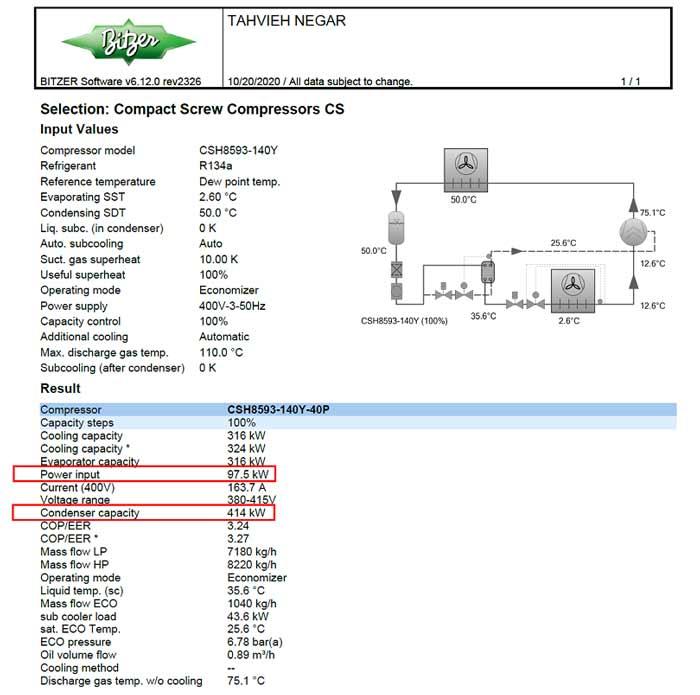 خروجی نرم افزار بیتزر برای چیلر تراکمی هوا خنک