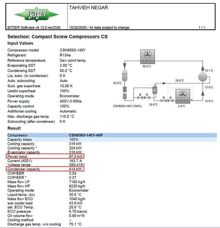 اطلاعات نرم افزار BITZER برای چیلر تراکمی هوایی