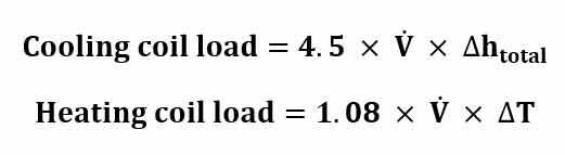 فرمول محاسبه بار سرمایشی و گرمایشی کویل های هواساز